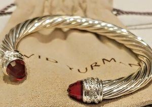 David Yurman 7mm garnet diamond cable bracelet